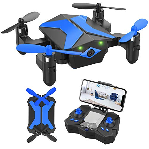 Mini Drone with camera for KidsBeginners , Foldable Pocket RC Quadcopterwith App Gravity Voice Control Trajectory Flight, FPV Video, Altitude Hold, Headless Mode, 360°Flip, Toys Gifts for Boys Girls