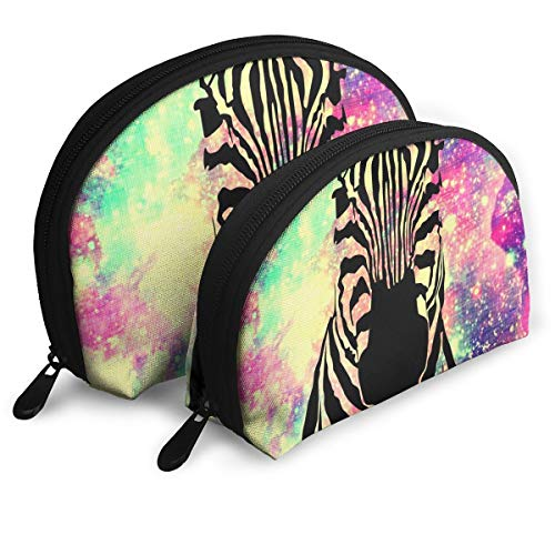 Portable Shell Makeup Bag Clutch Toiletry Pouch Fantasy Zebra Print Travel Storage Bag Phone Purse Set Of 2