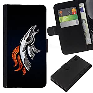 All Phone Most Case / Oferta Especial Cáscara Funda de cuero Monedero Cubierta de proteccion Caso / Wallet Case for Sony Xperia Z1 L39 // Metal Silver Horse Robot Fire