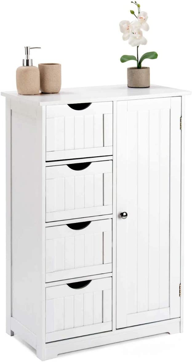 Wooden White 4 Drawer Storage Cupboard Unit With Shelf CHRISTOW Bathroom Cabinet Floor Standing