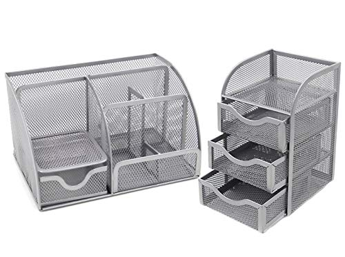 EasyPAG Mesh Desk Organizer 6 Component Accessories Cady + 3 Drawer Mini ()