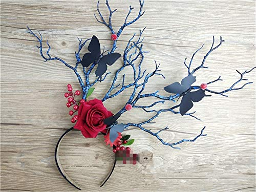 Gothic Mori Style Tree Branches Antler Headdress Cosplay Party Butterfly Rose Flower Headband Vintage Wedding Steampunk (Black)]()