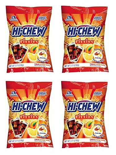 Hi-Chew Fizzies Mix, Cola & Orange Soda, 3.17 Ounce (Pack of 4) -