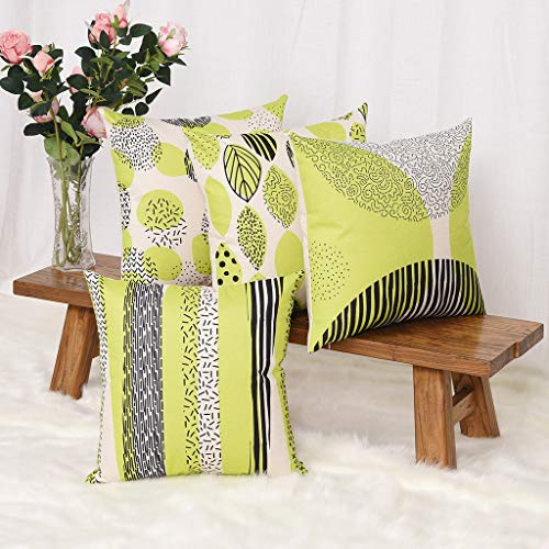 YINNAZI Fashion Geometric Pattern Throw Pillow Covers Square Decorative Cushion Case for Sofa Printing Pillowcase, 18x 18 Inch, Set of 4, Many Color (Yellow Green) (Cushions And Yellow Green)