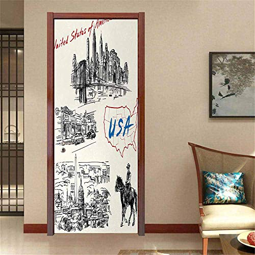 American Self-Adhesive Door Mural paperhome Decoration Hand Drawn USA Map Nostalgic Landscapes Skyscrapers Cowboy with Horse Metropolis Traditional Sticker Black White W32 x H80 INCH (Best Taxi App In Usa)