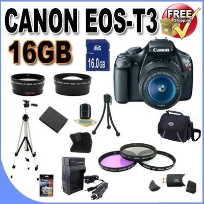 UPC 662425822683, Canon EOS Rebel T3 12.2 MP CMOS Digital SLR with 18-55mm IS II Lens (Black)+58mm 2x Telephoto lens + 58mm Wide Angle Lens (3 Lens Kit!!!) W/16GB SDHC Memory +Extra Battery/Charger+3 Piece Filter Kit+Case+Full Size Tripod+Accessory Kit