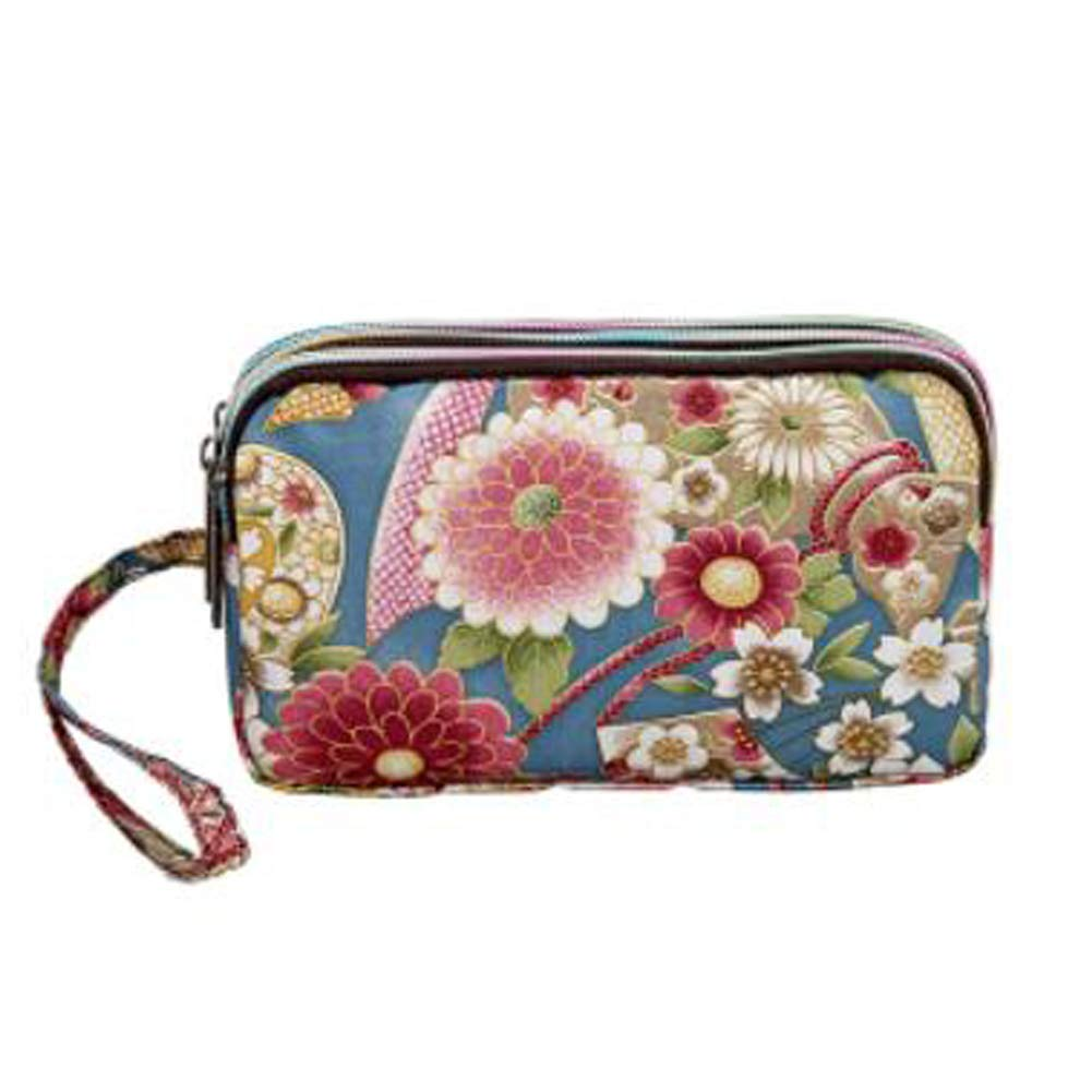 Ladies Fashion Small Card Case Wallet Change Coin Purse Pouch Bag with Zipper, Peony