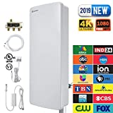 ANTOP Outdoor TV Antenna HD Digital Smartpass Amplified Booster 80 Miles Long Range Multi Directional VHF/UHF High Gain Signal Reception with 40ft Coaxial Cable & 3-Way TV Signal Splitter