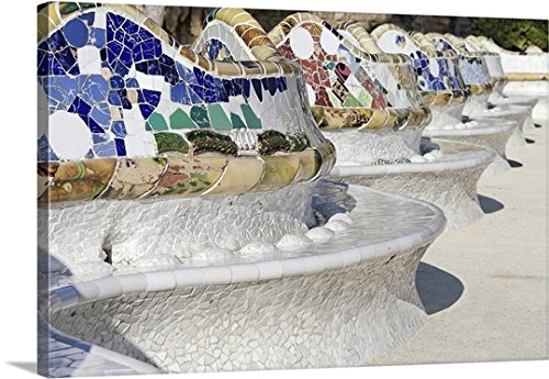 Canvas On Demand Premium Thick-Wrap Canvas Wall Art Print entitled Close-up of Mosaics on Gaudi Building, Parc Guell, Barcelona, Spain by Canvas on Demand