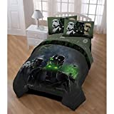 5 Piece Boys Black Green Star Wars The Movie Comforter Twin Set, Starwars Rogue One 1 Stormtrooper Graphic Bedding, Multi Character Imperial Storm Trooper Themed Geometric Pattern, Olive Lime Brown