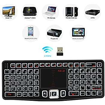 0dcb9b6bbb5 REIIE (2018 Backlit Version K03 Mini QWERTY Keyboard Adjustable DPI  Touchpad for PC, HTPC