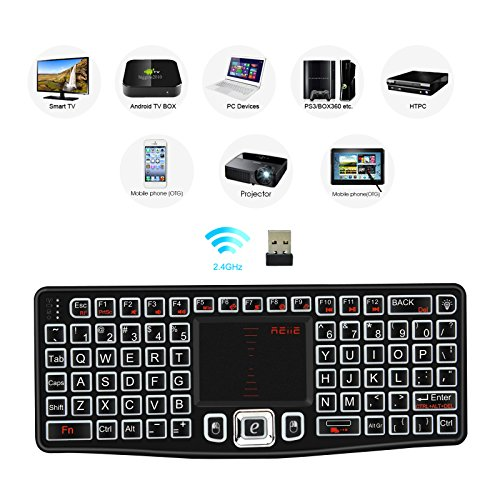 REIIE (2018 Backlit Version) K03 Mini Qwerty Keyboard Adjustable DPI Touchpad for PC, HTPC, Apple, Xbox360, Wii, PS3, Black (Keyboard Ps3 Windows)