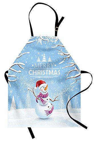 Ambesonne Christmas Apron, Snowman in a Snowy Winter Day with Xmas Hat Frosty Noel Kids Nursery Theme, Unisex Kitchen Bib with Adjustable Neck for Cooking Gardening, Adult Size, Blue