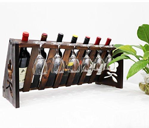 TUORUI Tabletop Wine Rack,Wood Wine Bottle and Glass Rack, Wine Storage Simple Assembly 7 Bottle 6 Long Stem Glass Holder (Vintage Walnut)