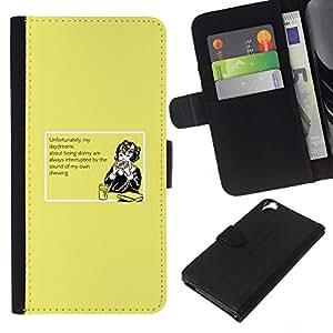 KingStore / Leather Etui en cuir / HTC Desire 820 / Daydream Alimentos Dreaming dieta flaco Saludable