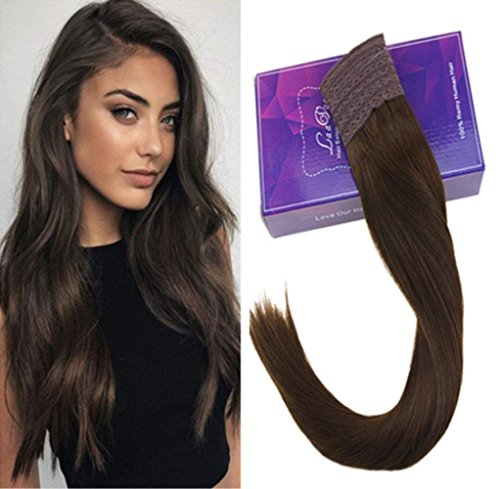 LaaVoo 16'' Double Weft Remy Halo Human Hair Piece Color #4 Dark Brown Invisible Wire No Clips in Flip Hair Extensions 80g Hairpiece by LaaVoo