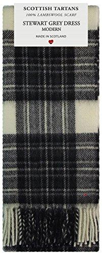 Stewart Grey Dress Modern Tartan Clan Fashion Scarf 100% Lambswool Made in Scotland