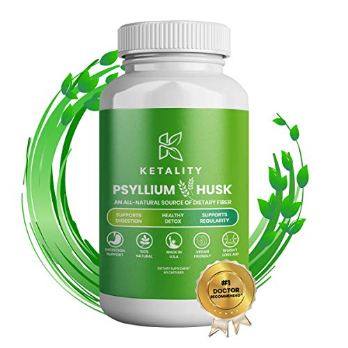 Ketality | Psyllium Husk | Maximum Strength 1080 mg | All-Natural Fiber Supplement, Supports Intestinal Health and Digestive Function, Promotes Regularity and Healthy Weight Management | 60 Capsules