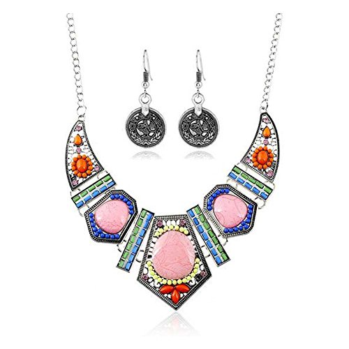 [Christmas GERGER BO Christmas Retro Ceramic Women 's Long Section Colorful Necklace(Silver)] (Soa Baby Costume)