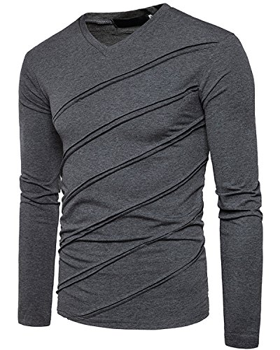 Men's Casual Long Sleeve Striped T-Shirt, Winter Fashion Cotton Solid V Neck Tee Dark Grey - Cheap Men Fashion For