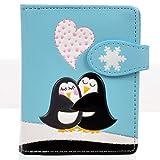 Shag Wear Women's Small Zipper Wallet Love Penguins Sky Blue