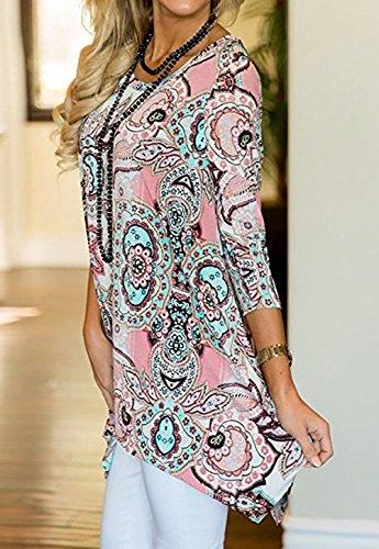 et Imprime Tunique 3 4 T Col Manches Hauts Automne Shirt Tops Rose Femmes Tee Rond Printemps Shirts Irregulier Blouses Long Fashion Chemisiers Casual dyAwqIaR