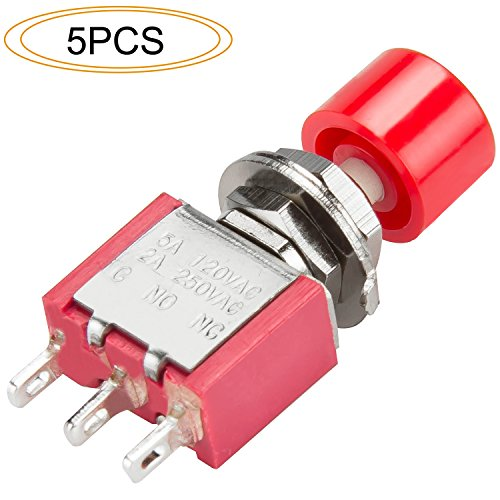 DIYhz 5Pcs AC 2A/250V 5A/120V 3 Pin DPDT Momentary Push Button Switch NO NC with Red Cap