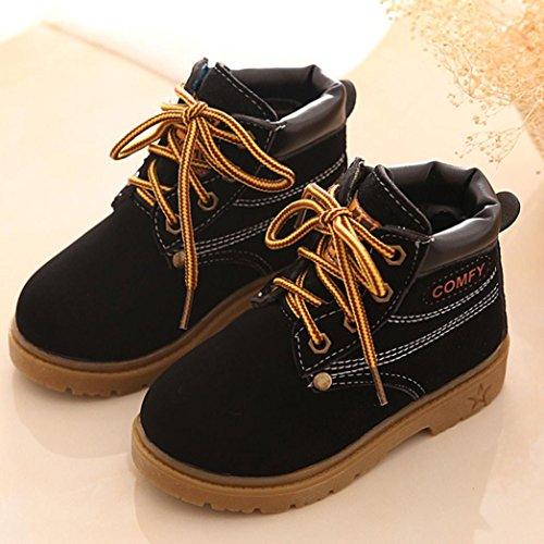 JIANGFU Kinder Winterstiefel warmer Stiefel Martin Stiefel Sehne am Ende von England,Winter Baby Child Army Style Martin Boot Warm Shoes (25, BK)