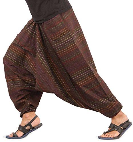 Cheap Mens Baggy Yoga Hippie Boho Aladdin Alibaba Harem Pants One Size Handmade (Brown – Style I)