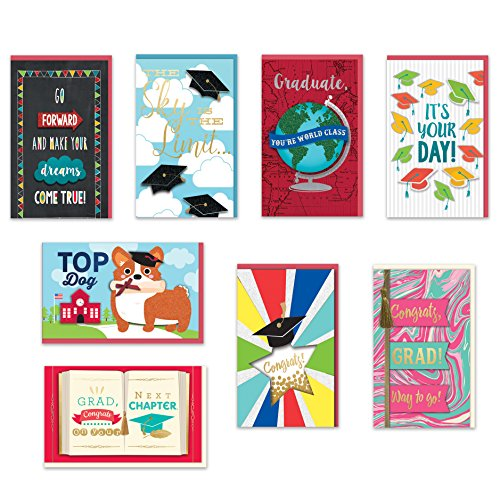 8 Handmade Cards Stationery (Congratulations Graduation Cards Boxed Set of 8 Embellished Handmade Collegiate Graduation Greeting Cards for Him and Her)