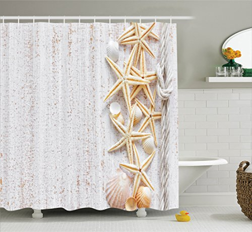 Seashells Decor Shower Curtain Set By Ambesonne, Seashells And Starfish With Rope In Vertical Direction On Wood Surface Ocean Marine Beach Theme, Bathroom Accessories, 84 Inches Extralong