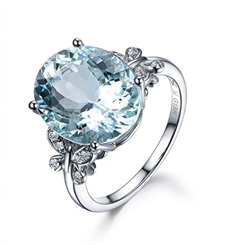 LLNF White Gold Plated Oval Cut Created Blue Topaz Butterfly Promise Engagement Ring Band for Women