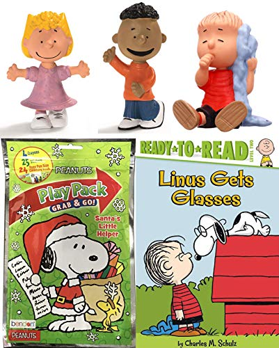 (All Your Base Good Grief! Mini Figures 3-Pack Peanuts Franklin / Sally & Linus with Blanket + Bonus Snoopy Playbook Stickers Fun Size Coloring & Reader Book Bundle)