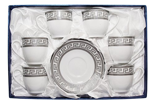 Royalty Porcelain 12pc Silver Miniature Coffee Set, 6 Silver-Plated Cups w/ Saucers, Greek Pattern, Porcelain