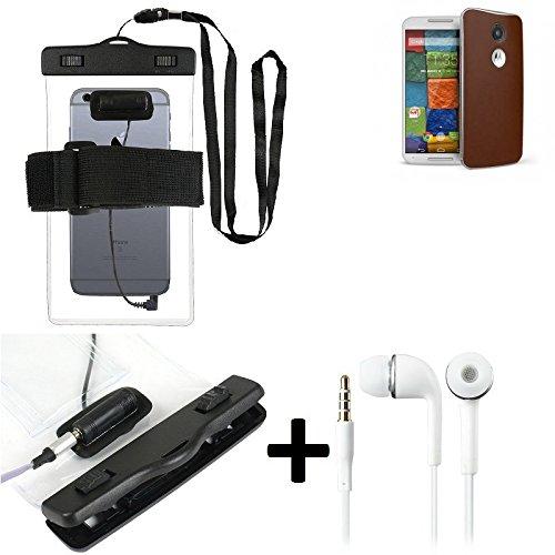 Estuche estanco al agua con entrada de auriculares para Motorola Moto X (2. Gen.) + auricular incluido, transparente   Trotar bolsa de playa al aire libre caja brazalete del teléfono caso de cáscara b
