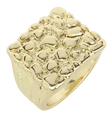 Nugget Design 14k Gold Plated Square Pinky Fashion Bling Hip Hop Ring Size 5-13 (9) ()
