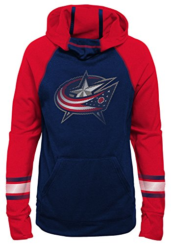 Outerstuff NHL Columbus Blue Jackets Youth Girls Female Forward Funnel Neck Hoodie, Large(14), True Navy