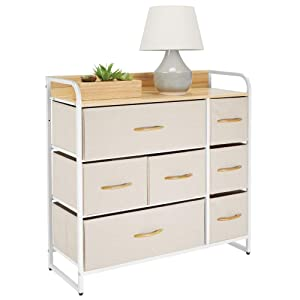 mDesign Wide Dresser Storage Chest, Sturdy Steel Frame, Wood Top & Handles, Easy Pull Fabric Bins - Organizer Unit for Bedroom, Hallway, Entryway, Closet - Textured Print, 7 Drawers - Cream/White