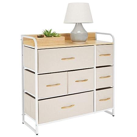 mDesign Cómoda para dormitorio con 7 cajones – Mueble con cajones ancho para el salón, la habitación o el pasillo – Cajonera de metal, MDF y tela para ...
