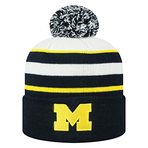 Top of the World Michigan Wolverines Official NCAA Cuffed Knit Skyview Stocking Stretch Sock Hat Cap Beanie 479132 (Michigan State Stocking Cap)