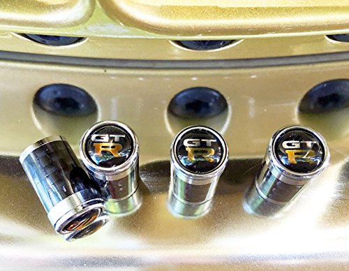 - Car Accessory Warehouse GTR Nissan GT-R Nismo 3K Carbon Fiber CF Tire Valve Stem Caps with Logo Emblem, Copper Sheet Backing Plate, Aluminum Construction Exclusive Product