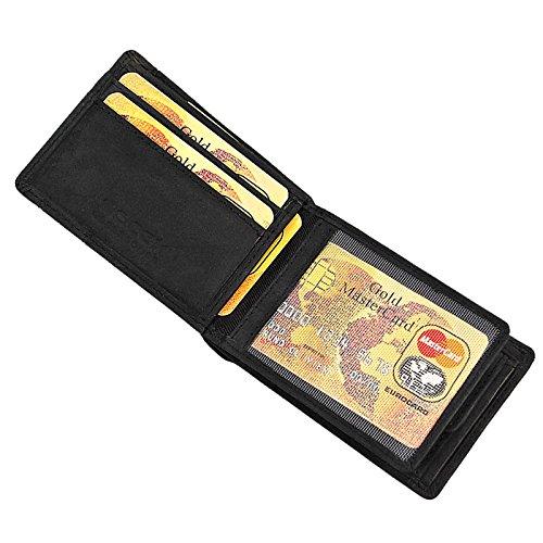BOCCX sportliche Vintage Herren Geldbörse Leder Portemonnaie kleiner Geldbeutel Minibörse 40022 schwarz GoBago