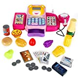 FunsLane Toy Calculator Cash Register, Multi-Functional Educational Pretend Play Toy Cash Register with Food & Supermarket Toys, Microphone,Scanner,Money and Credit Card