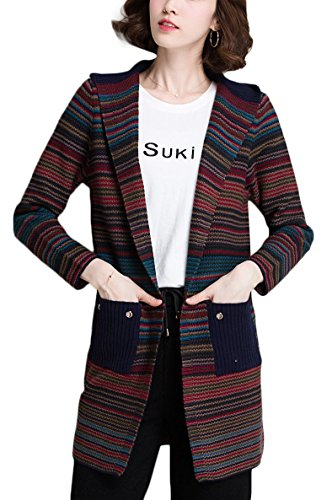 3 Open Pockets (KUBITU Womens Classic Boyfriend Open Front Pocket 3/4 Sleeve Fit Hoodie Sweater Cardigan Coat Large Navy and Red)