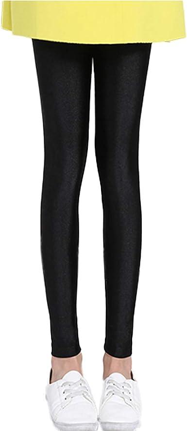Children Kids Girls Winter Warm Leggings Faux Leather Elastic Fleece Lined Pants