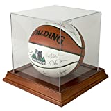 Basketball Display Case with Wood Base - Cherry