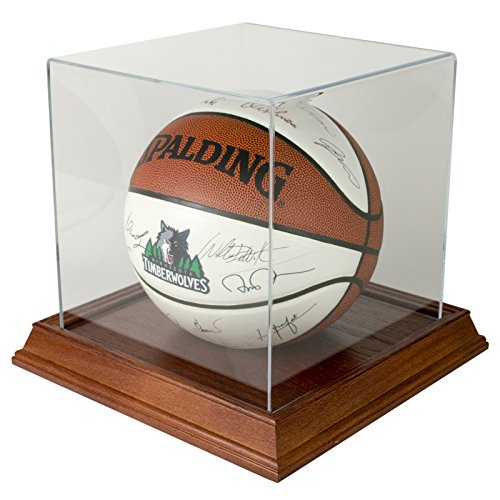Basketball Display Case with Wood Base - Cherry by Star Innovations