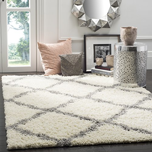 Safavieh Dallas Shag Collection SGD257F Ivory and Grey Area Rug (3' x 5') (Decor Bedroom)