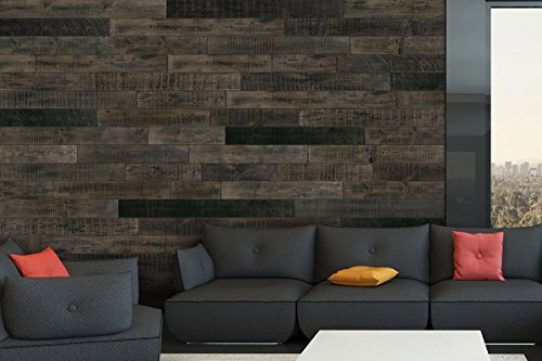 AS-IS BRAND Wood Walls (BLACK-ISH) - Glue & Stick Aged Wood Planks (20 Sq. Ft) by AS-IS