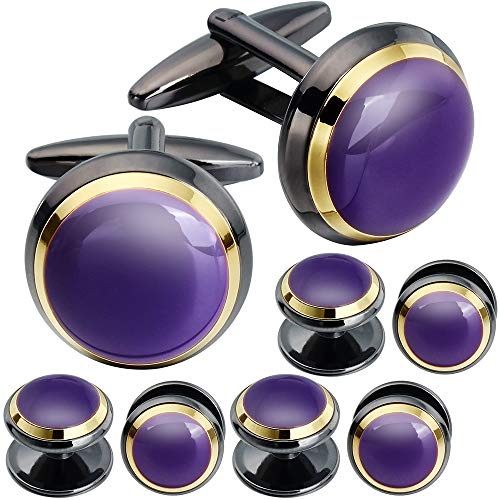 (HAWSON Cuff Links Tuxedo Studs Set for Men - Best Gifts for Wedding, Formal Events (Purple)